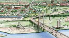 A proposed six-lane bridge between Detroit and Windsor.