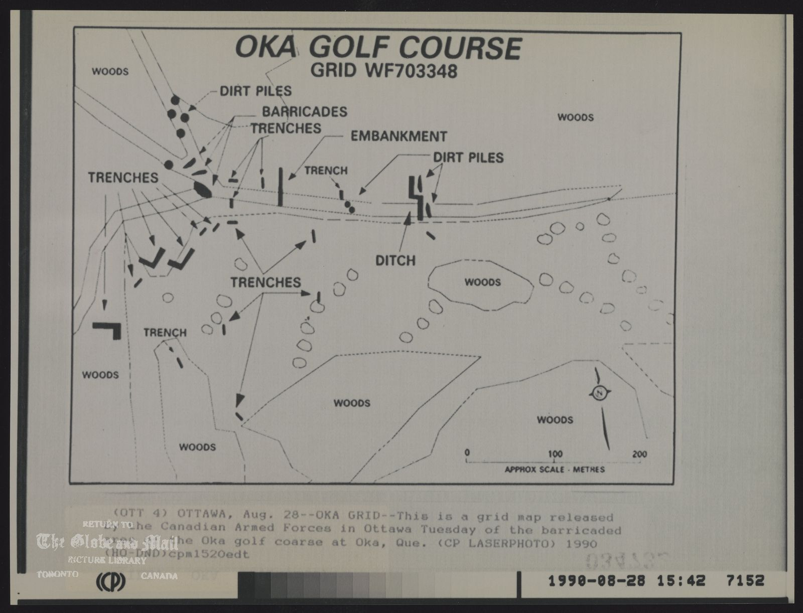 INDIANS Canada Mohawk OKA Golf Course Grid WF703348 (OTT 4) OTTAWA, Aug. 28--OKA GRID--This is a grid map released by the Canadian Armed Forces in Ottawa Tuesday of the barricaded areas of the Oka golf coarse at Oka, Que. (CP Laserphoto) 1990 (HO DND) cpm152edt