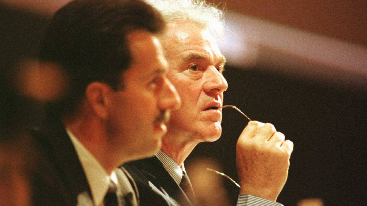 Frank Stronach at Magna's 1997 Annual Meeting at Roy Thomson Hall in Toronto. In the foreground is Donald Walker, Magna President and CEO.