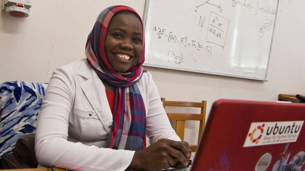Esra Khaleel, 28, from the Darfur region of Sudan, works in her office at South Africa's Stellenbosch University, where she is working on her PhD in nuclear physics. Ms. Khaleel graduated from the African Institute for Mathematical Sciences in 2008.