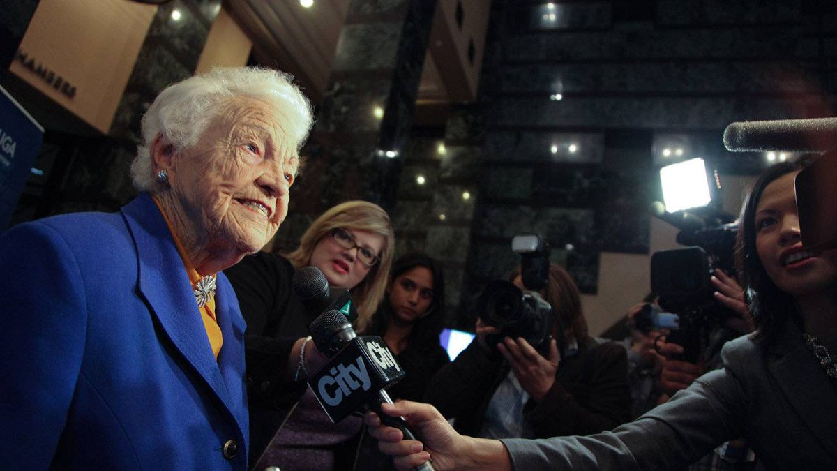 Ms. McCallion with the media just moments before being declared Mississauga's mayor for her 12th time on Oct 25, 2010.