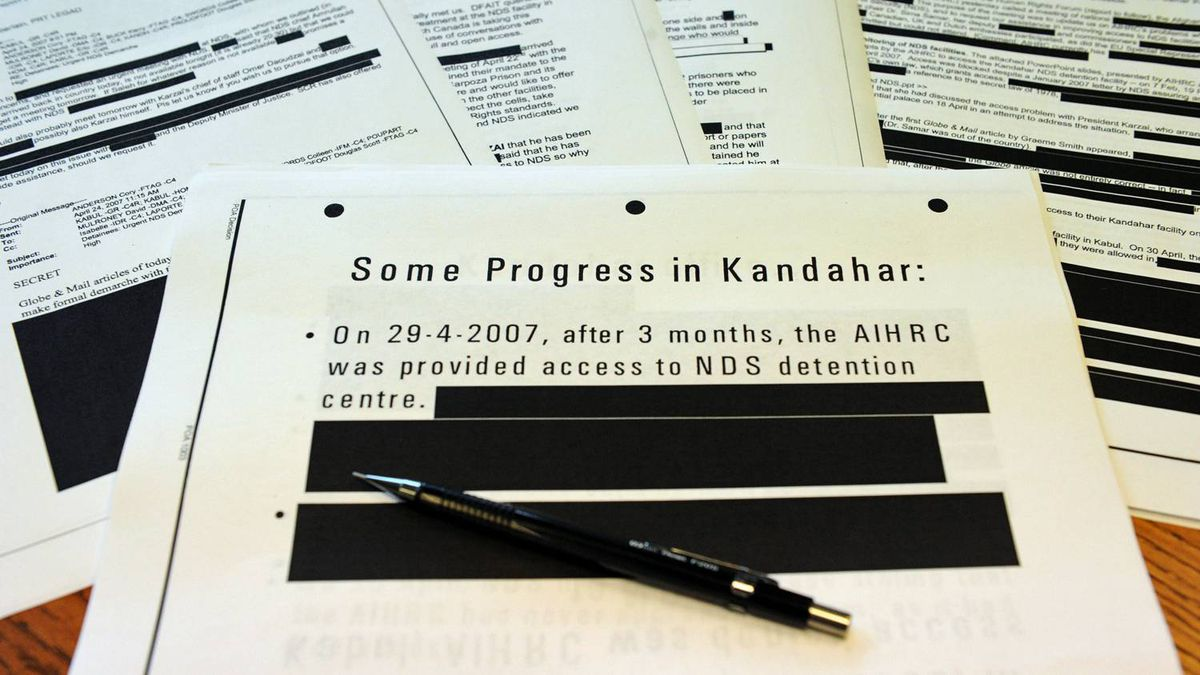 Document relating to Canadian-transferred detainees in Afghanistan are released publicly in Ottawa on June 22, 2011.