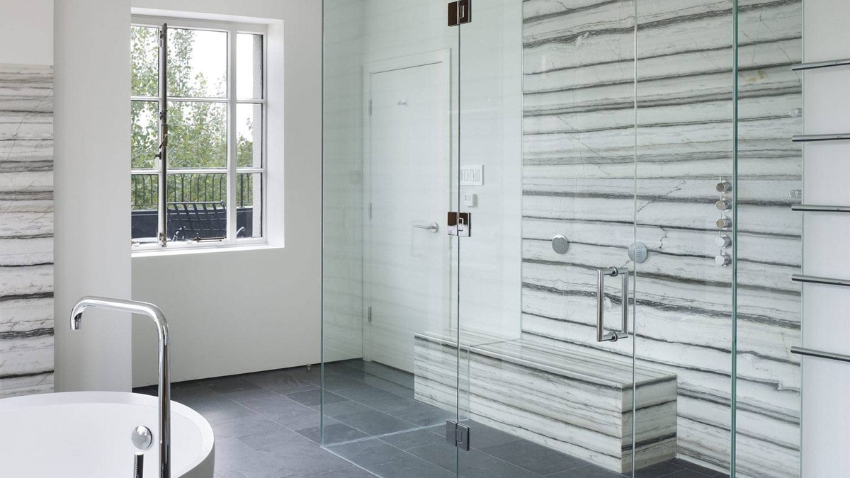 The master bath. Architect Drew Mandel: 'The most interesting projects are defined by their constraints…we had a lot of interesting conversations about what is Canadian Art Deco.'