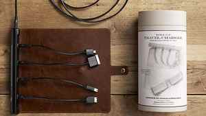 Power up your iPhone Recharge four gadgets at once on Restoration Hardware's Roll Up Travel Charger. Compatible with the iPhone, iPad and iPod, this compact charger powers up with a single electricity outlet. When not in use, its multiple connectors roll up into a proof polyurethane mat. $33.99 (U.S.); restorationhardware.com