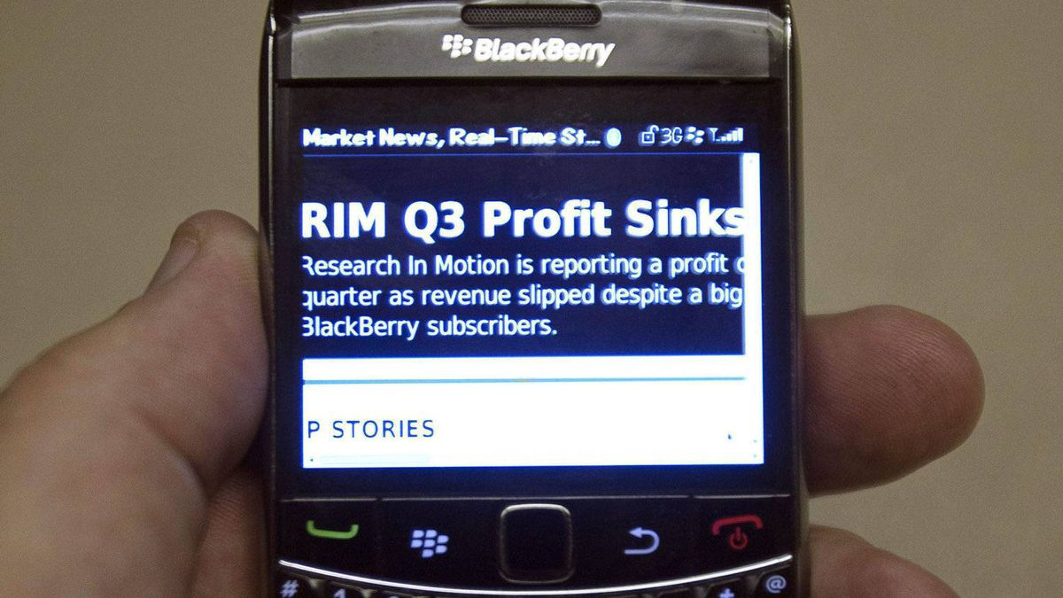 RIM's third-quarter results, Dec. 15, 2011, as seen on a BlackBerry. The company faces a make-or-break year in 2012.