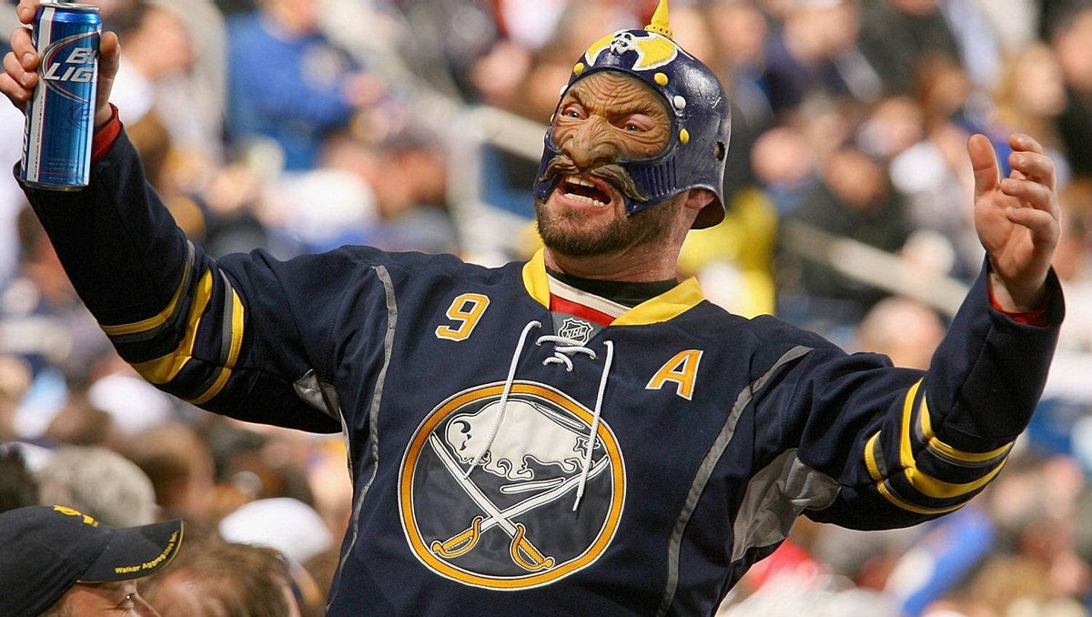 A fan of the Buffalo Sabres shows his support against the Philadelphia Flyers. The Flyers won 4-2.(Photo by Rick Stewart/Getty Images)