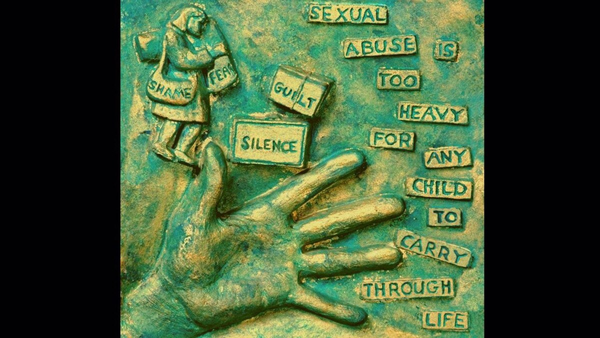 Details from a statue for abuse victim Martin Kruze, by artist Michael Irving.