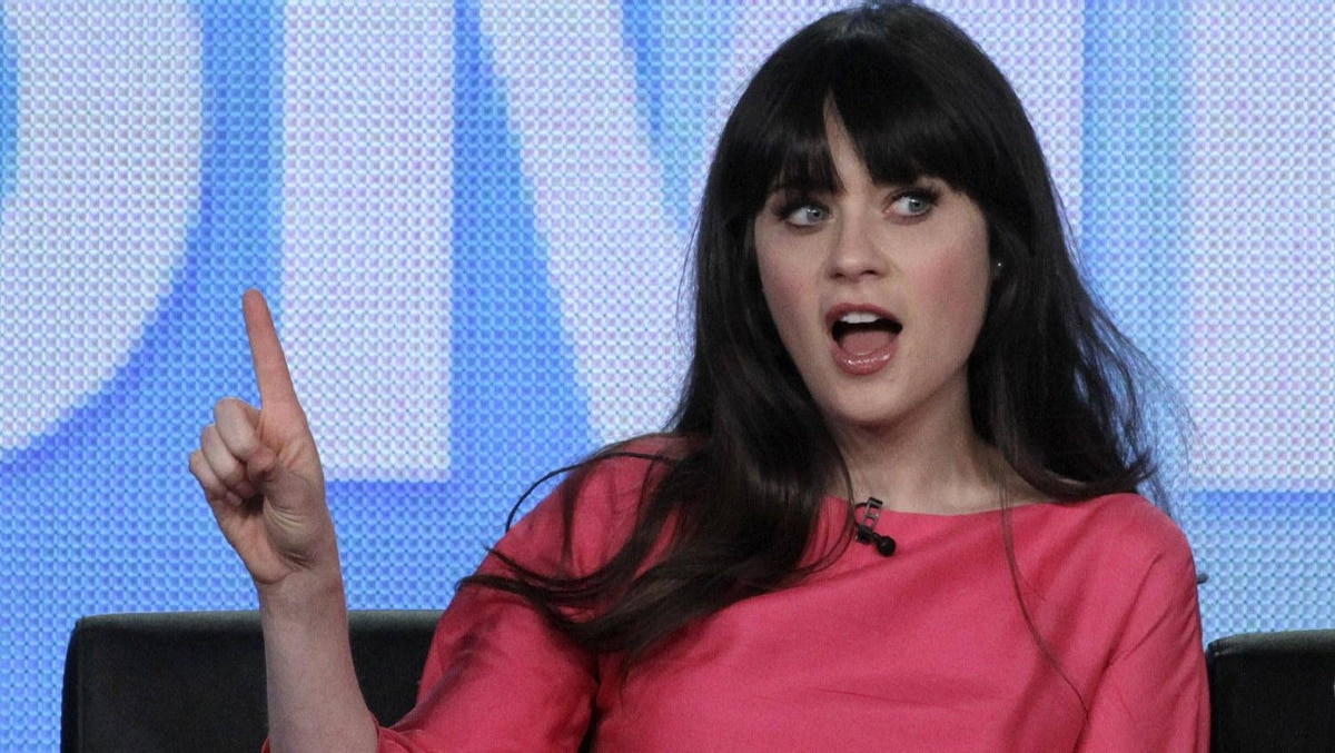 """Actress Zooey Deschanel, star of the comedy """"New Girl,"""" takes part in a panel session at the FOX Winter TCA Press Tour in Pasadena, California January 8, 2012."""
