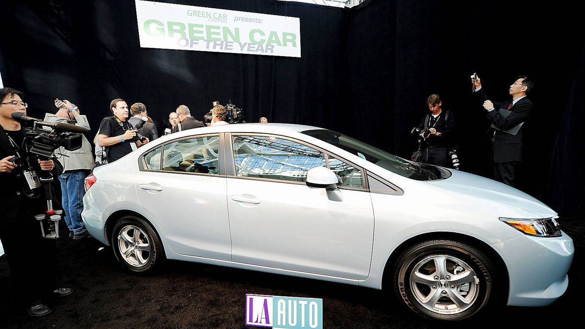 A 2012 Honda Civic Natural Gas vehicle is on display after it was awarded the Green Car of the Year award on November 17, 2011 in Los Angeles, California. The award was presented to Honda by Green Car Journal, which annually selects a single vehicle for its environmental performance.