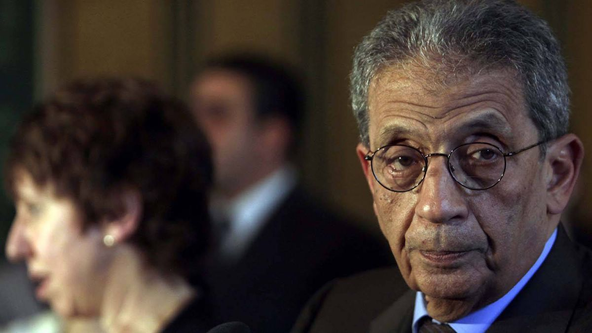 Arab League Secretary-General Amr Moussa, right, attends a news conference with European High Representative for Foreign Affairs and Security Policy Catherine Ashton, left, in Cairo Feb. 22, 2011.