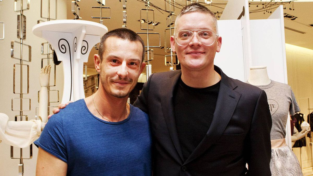 Designers Jonathan Saunders (left) and Giles Deacon