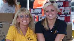 Karen Bowersox, left, with design graduate Jillian Jankovsky.