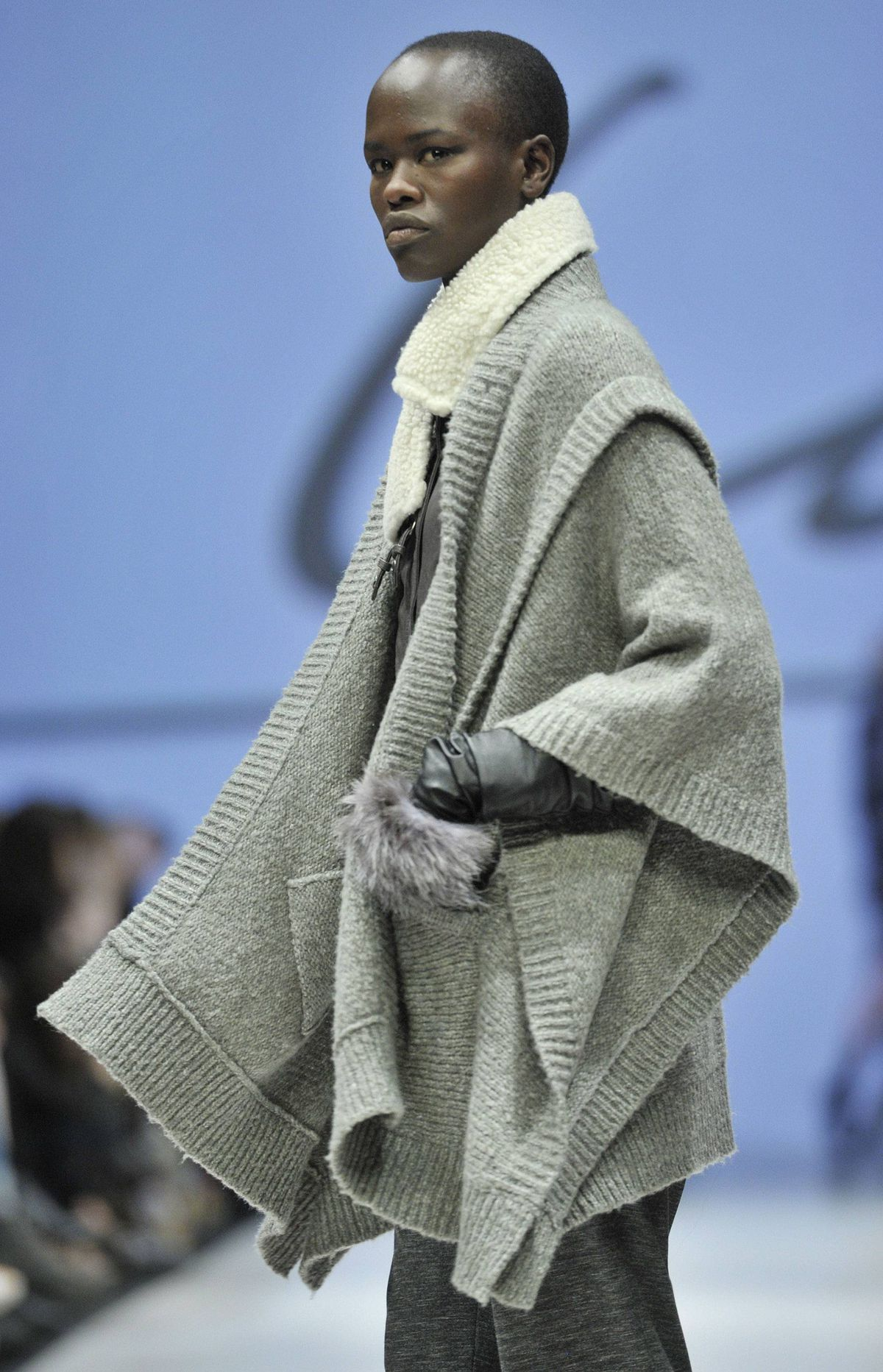 Veering again toward very wearable, John Muscat and Jennifer Wells's collection for their label Line was full of huggable, interestingly shaped knits in multi-hued patterns and pleasing shades of grey.