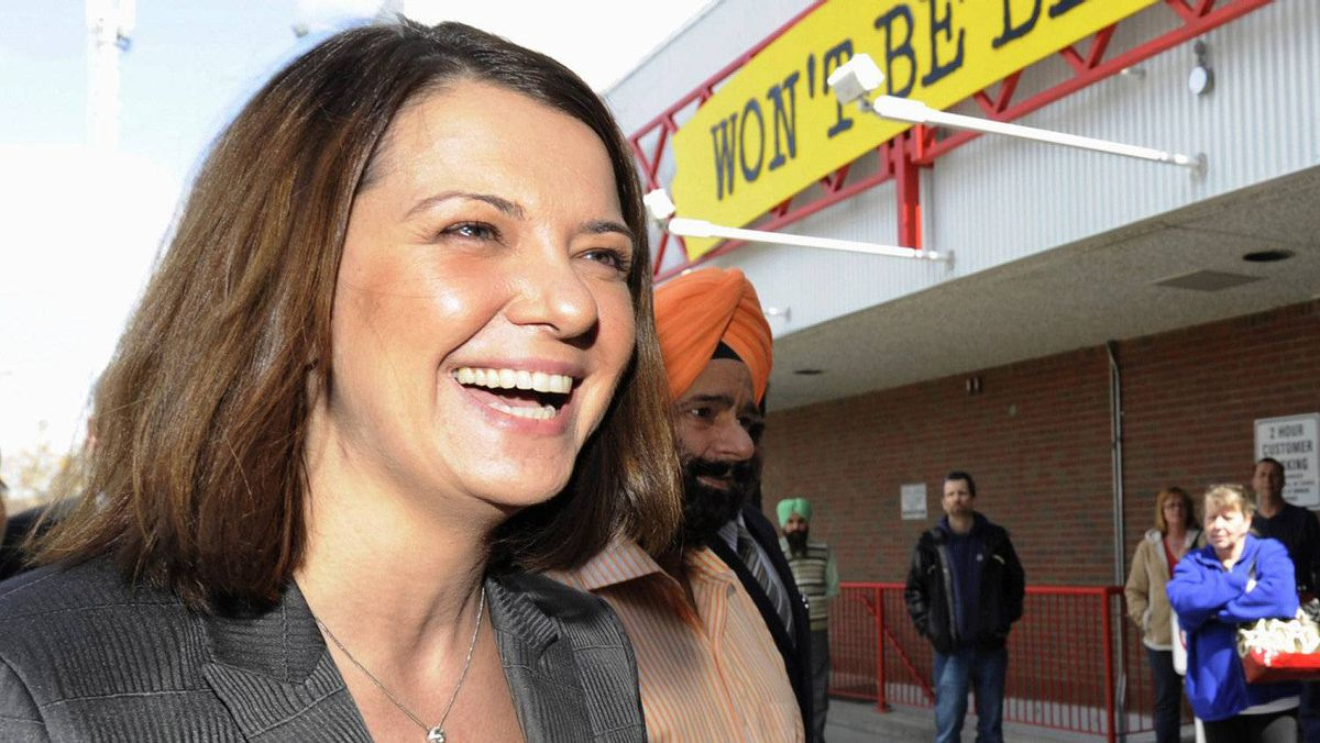 Wildrose party leader Danielle Smith arrives at a campaign stop in Calgary, Alberta, April 20, 2012.