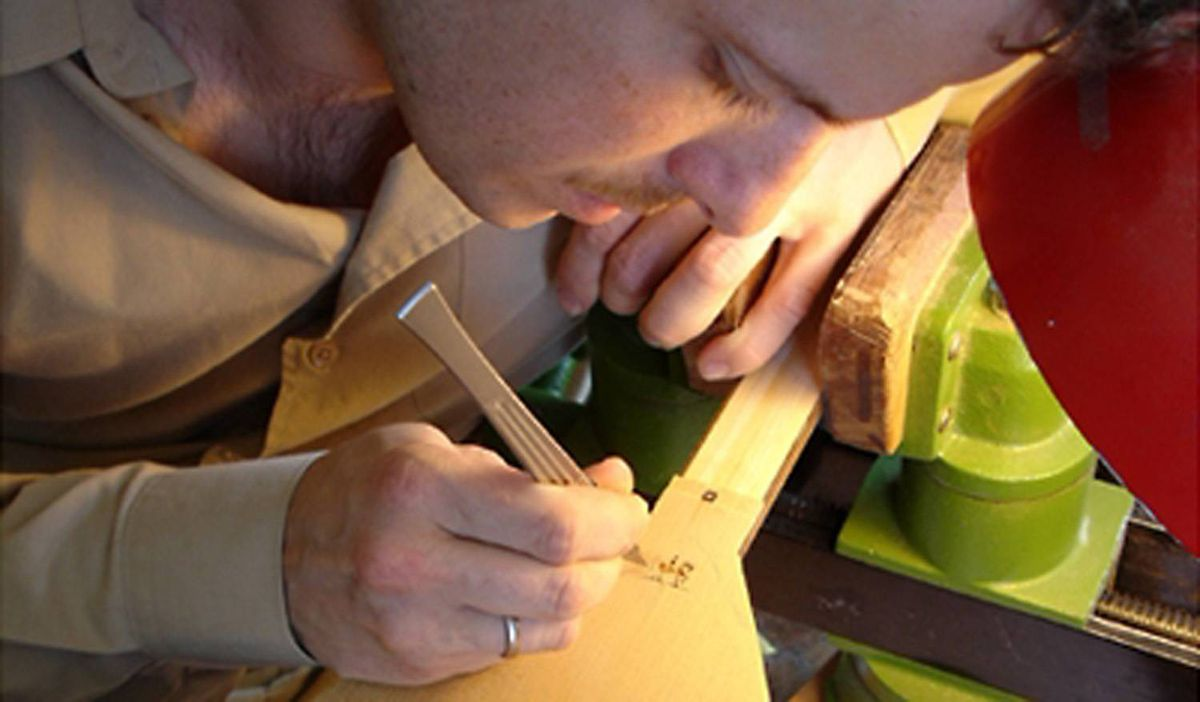 Inlaying my logo on a turkish lute top, 2006