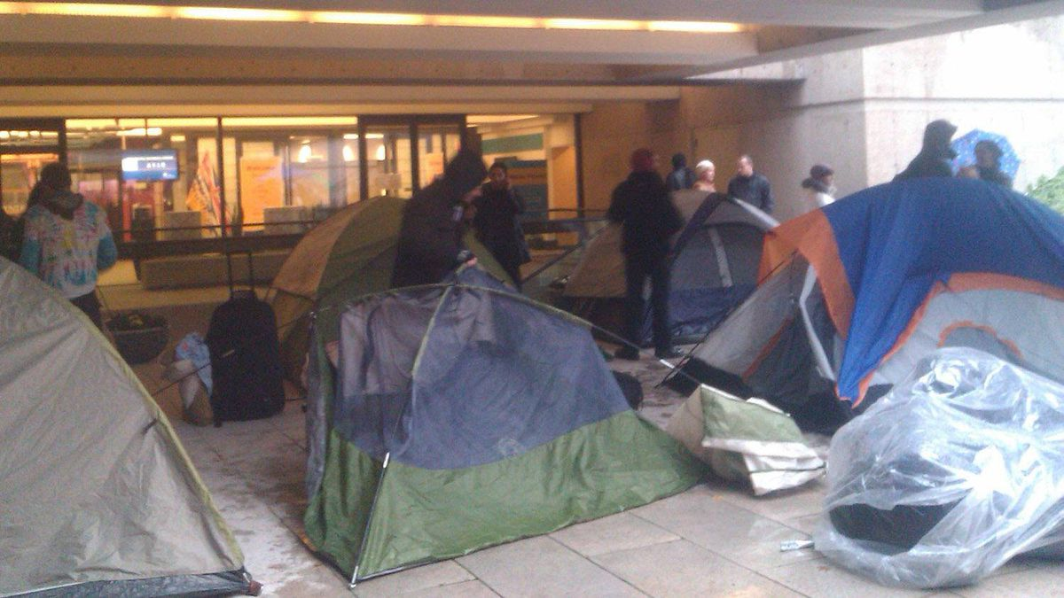 Occupy Vancouver sets up camp at the courthouse, Nov. 21, 2011.