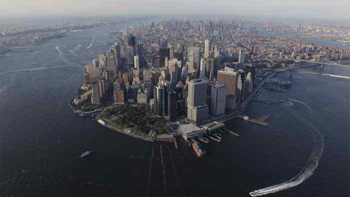 An aerial view of lower Manhattan.