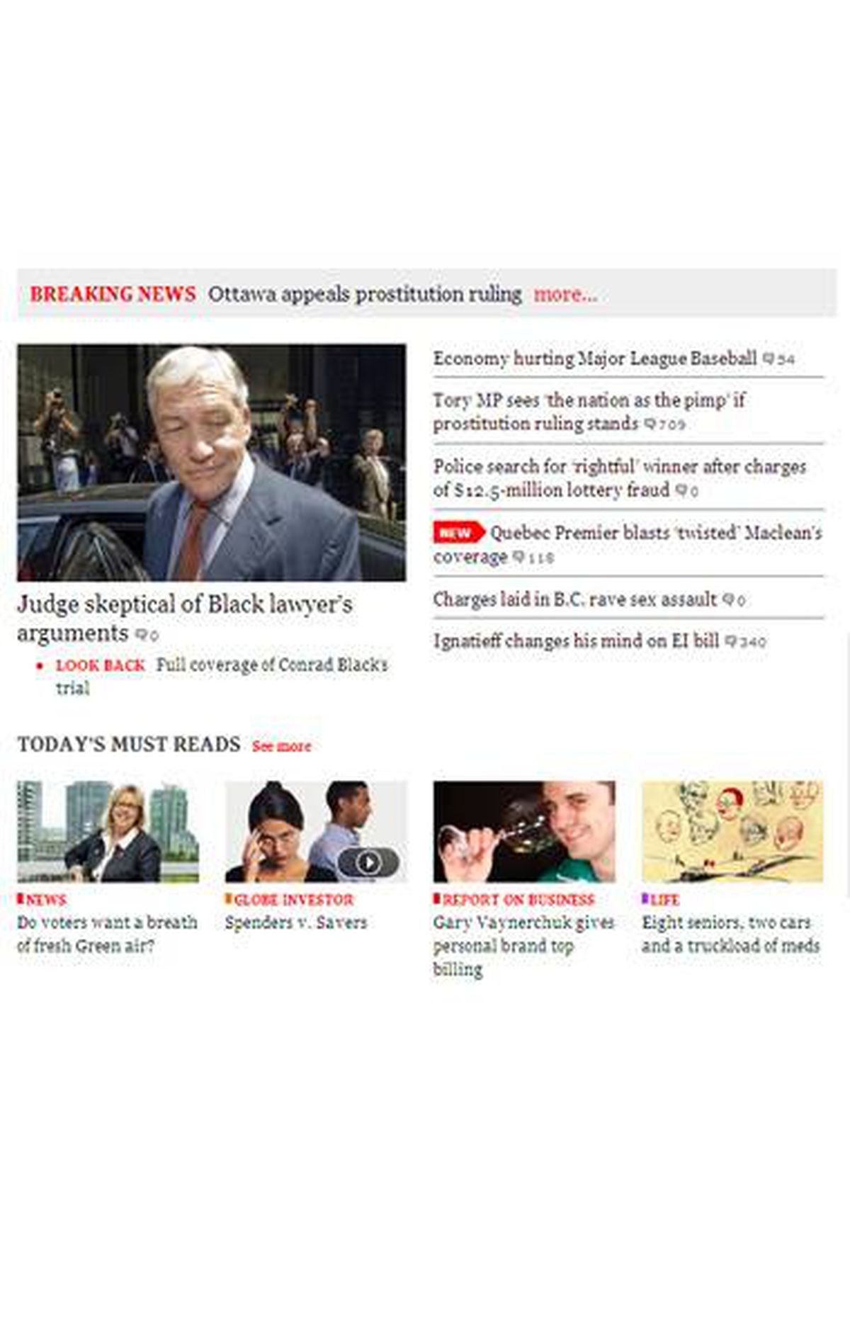 Top stories and our Must Reads section on our new home page.