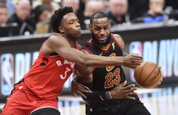 Cleveland Cavaliers forward LeBron James drives to the basket against Toronto  Raptors forward OG Anunoby during Game 3 in Cleveland. ` 93b977991