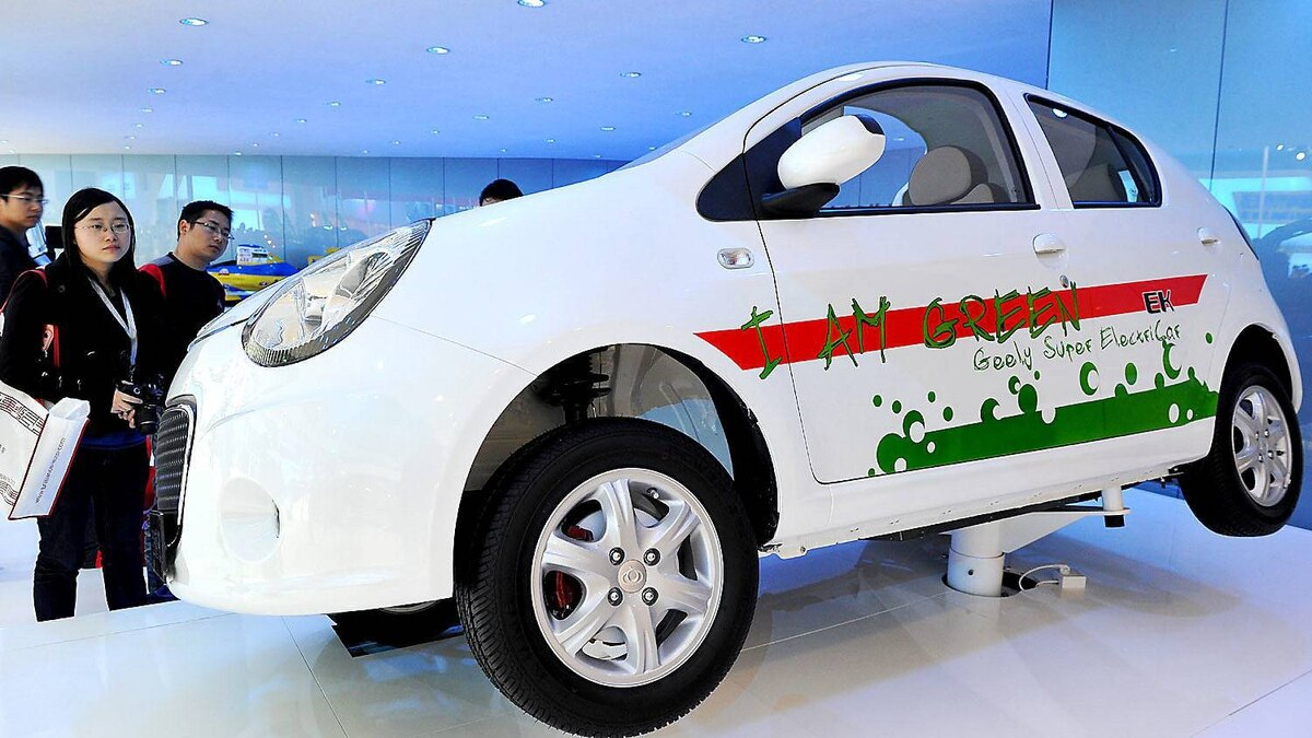 An electric car prototype of Chinese car manufacturer Geely is displayed at the Shanghai Auto Show in Shanghai on April 21, 2011. Major carmakers' high hopes for electric vehicles are on clear display at the Shanghai auto show, but industry leaders say it could be a decade before such eco-friendly cars go mainstream.