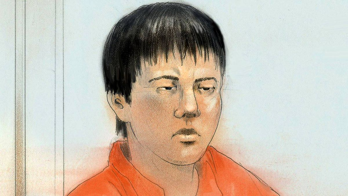 Zhou Fang, accused of first-degree murder after his father was killed using a crossbow in a public library, appears in a Toronto courtroom on Dec. 3, 2010.