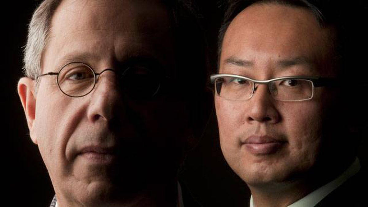 "Dr. Anthony Feinstein (left), producer of the Oscar short-listed documentary ""Under Fire: Journalists in Combat"", and Dr. Homer Tien, National Practice Leader in Trauma for the Canadian Forces."