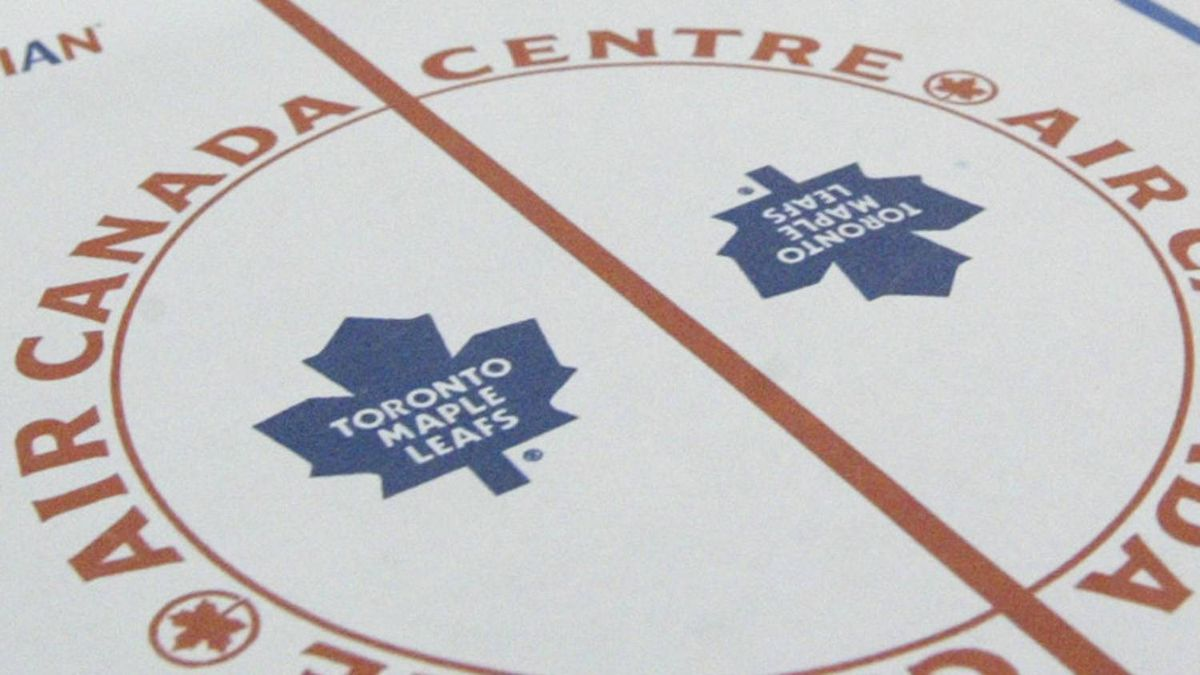 Air Canada logo is part of the centre ice design in the Toronto Maple Leafs arena, the Air Canada Centre.