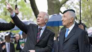 Governor-General David Johnston shows off the grounds at Rideau Hall during a tree-planting ceremony with Israeli President Shimon Peres on May 8, 2012.