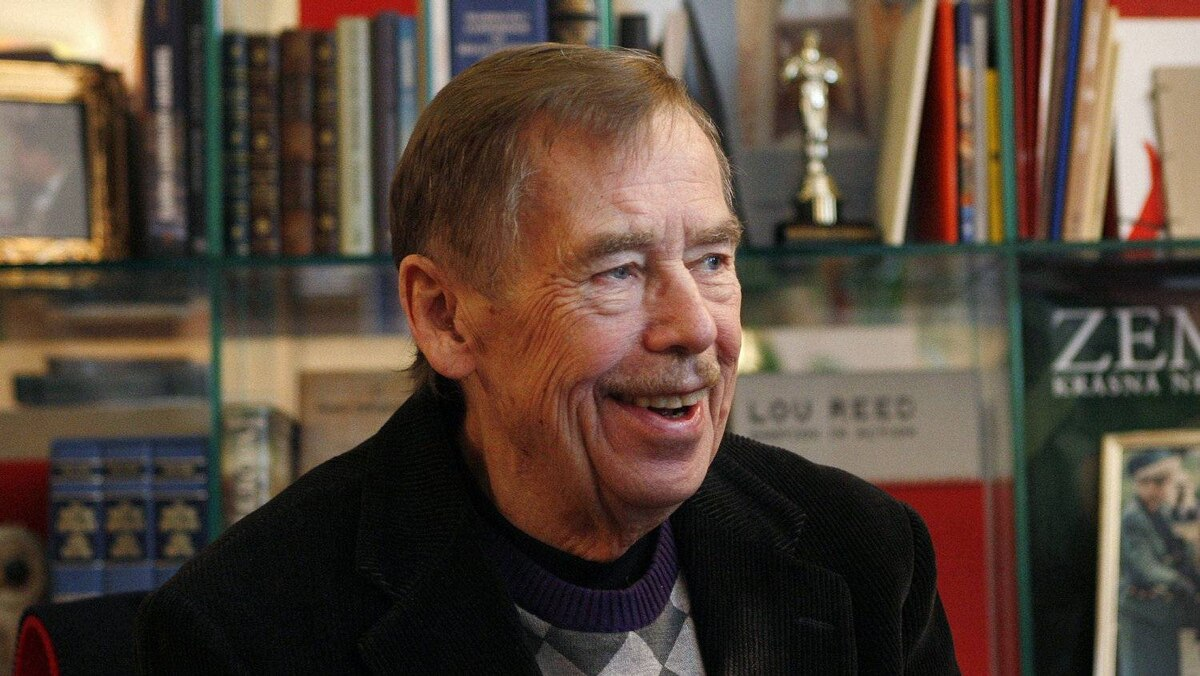 In this file photo taken Feb. 3, 2011, former President of the Czech Republic Vaclav Havel answers questions about anti-government protests in Egypt, North Africa and the Middle East during an interview with The Associated Press in Prague, Czech Republic.