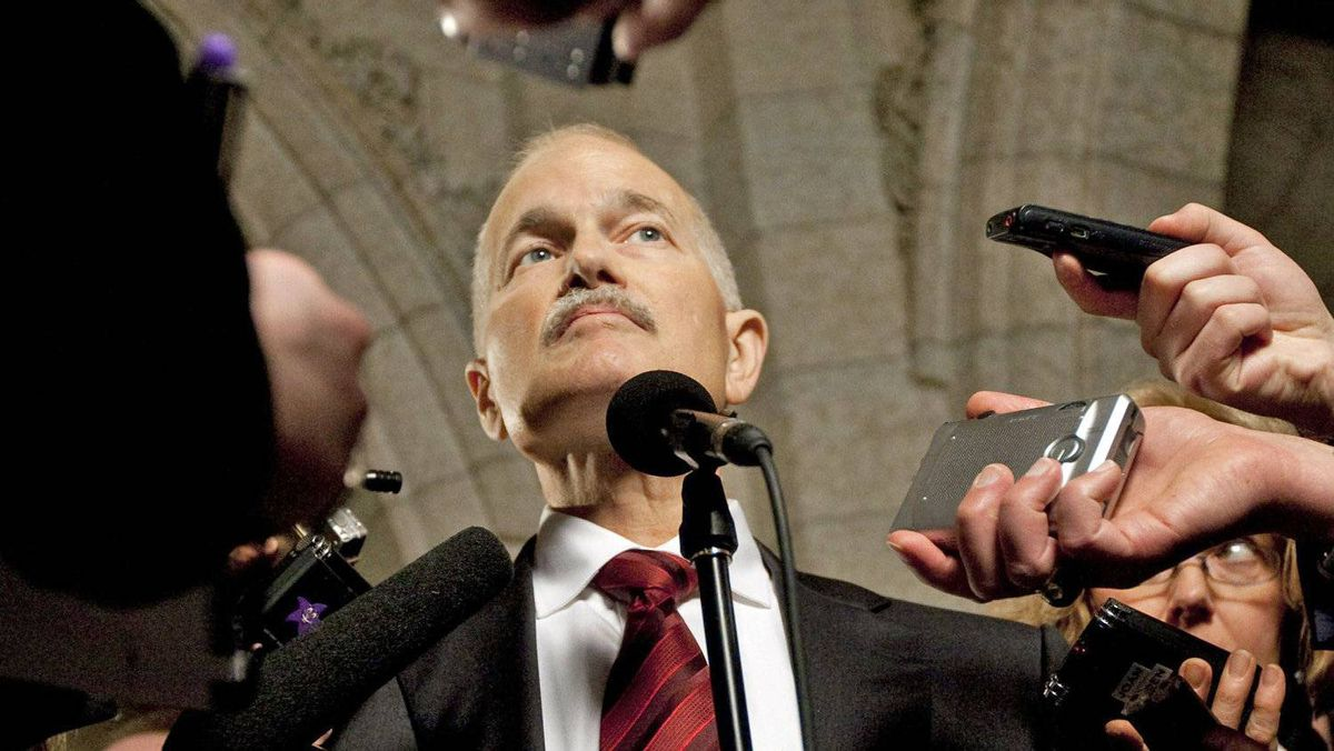 New Democratic Party Leader Jack Layton speaks to reporters in the foyer of the House of Commons on March 21, 2011.
