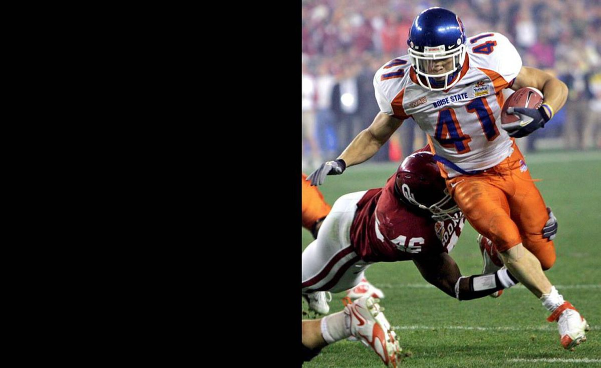 In only its ninth year as a major Division 1A football school, the Boise State Broncos upset perennial powerhouse University of Oklahoma Sooners – including stud running back Adrian Peterson – at the 2007 Fiesta Bowl in overtime, using a trick play to run in the winning score.