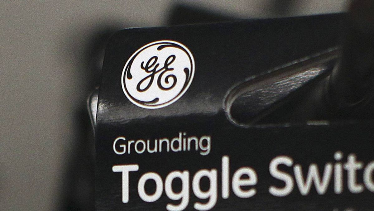 A General Electric Company (GE) logo is seen on a toggle switch package in New York January 18, 2012.