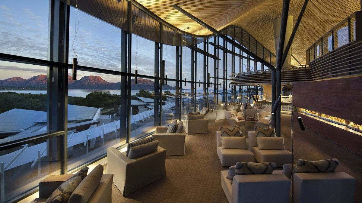 The five-star Saffire Freycinet resort on Tasmania's east coast. Second-floor lounge with open bar and roof made from Tasmanian celery top pine.