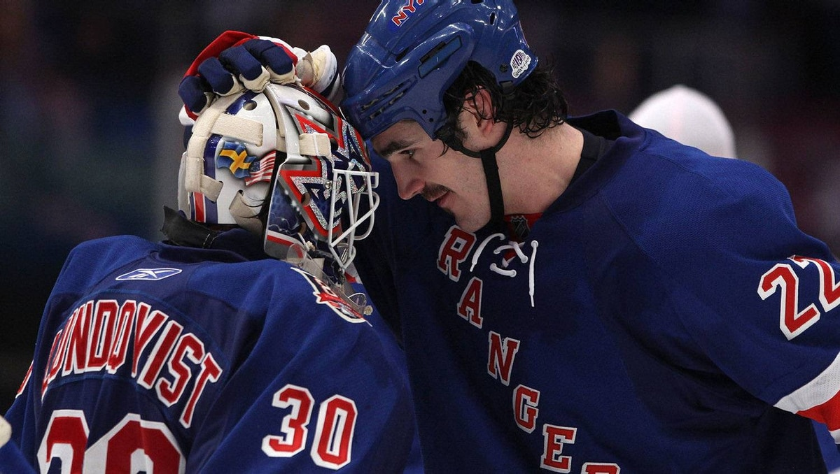 (L-R) Goalie Henrik Lundqvist #30 and Brian Boyle #22 of the New York Rangers celebrate after the Rangers won 3-2 against the Washington Capitals in Game Three of the Eastern Conference Quarter-finals. (Photo by Bruce Bennett/Getty Images)