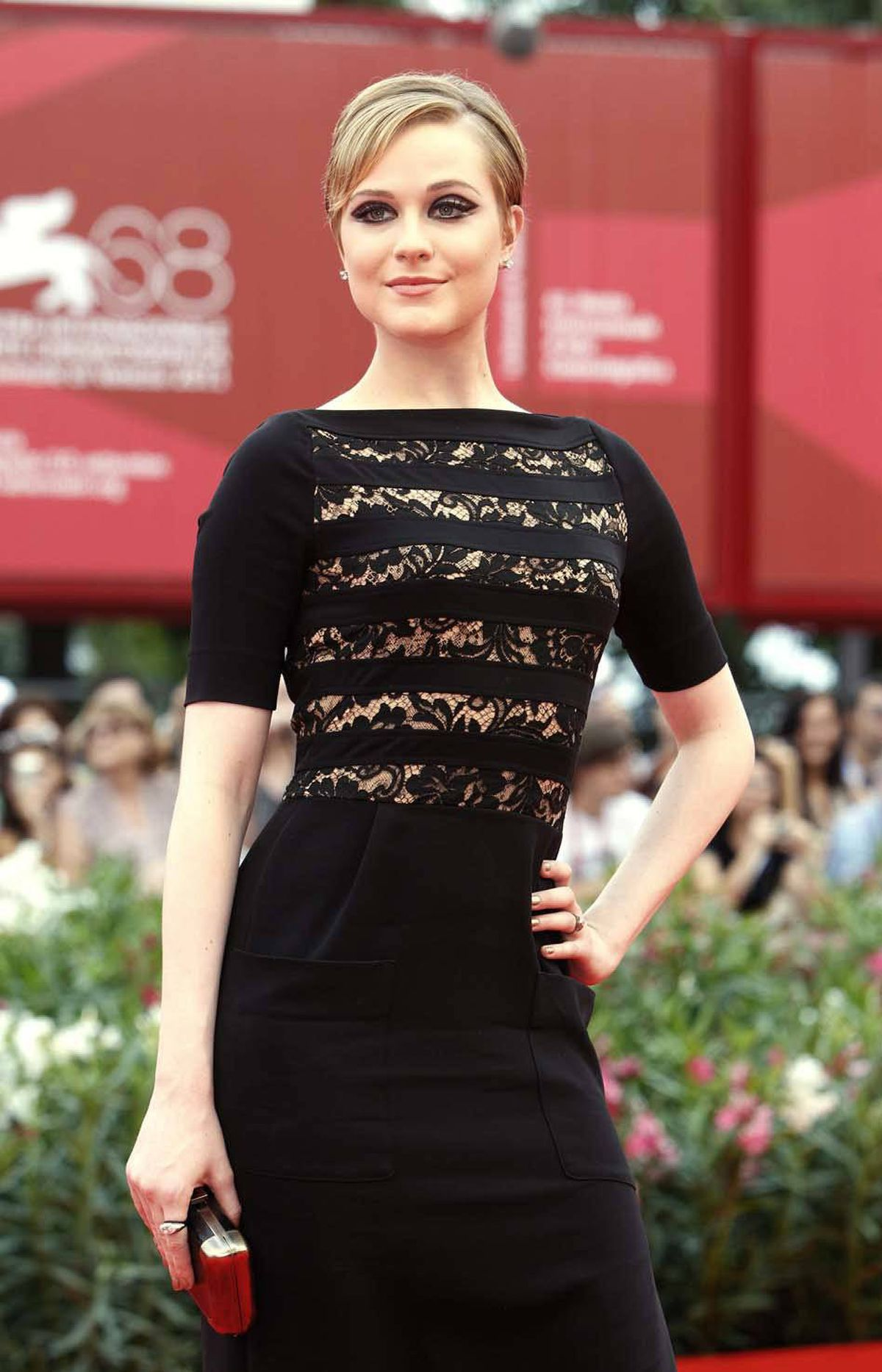 """U.S. actress Evan Rachel Wood arrives at the premiere of the TV series """"Mildred Pierce"""" at the Venice Film Festival on Friday."""
