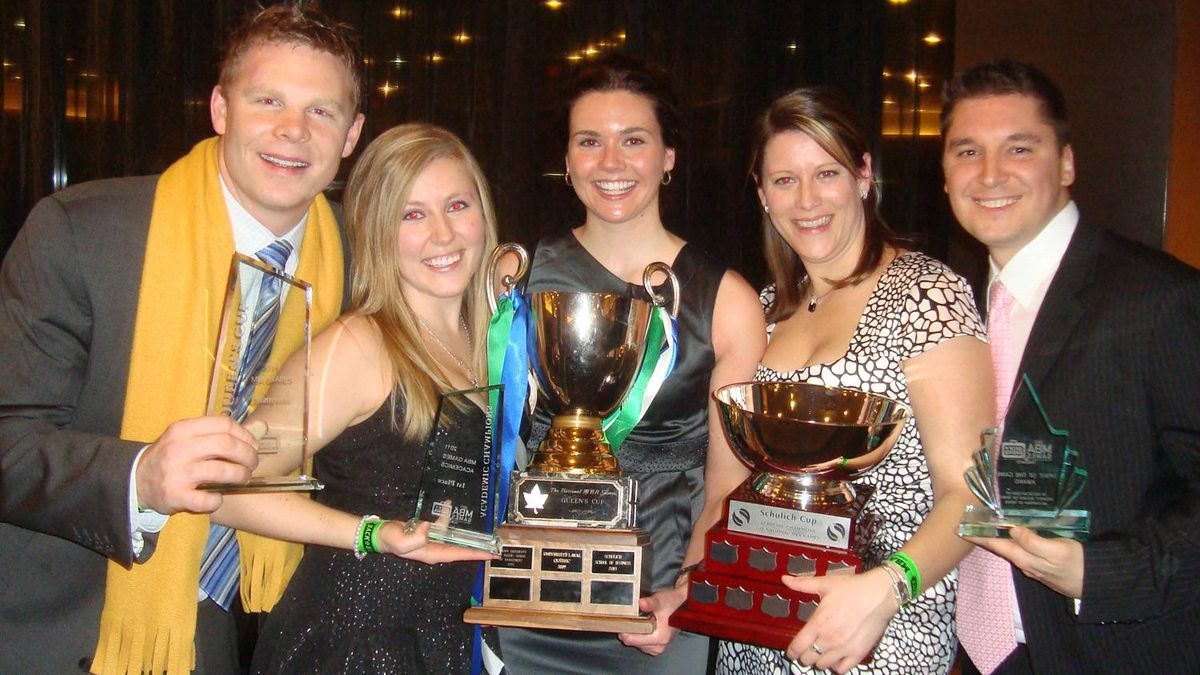 The organizing committee members of the University of Alberta's School of Business team that won the Queen's Cup at the 2011 MBA Games, from left, Lucas Matheson, Jessica Kennedy, Ashley Beliveau Davis, Erin Lampard and Kori Patrick.