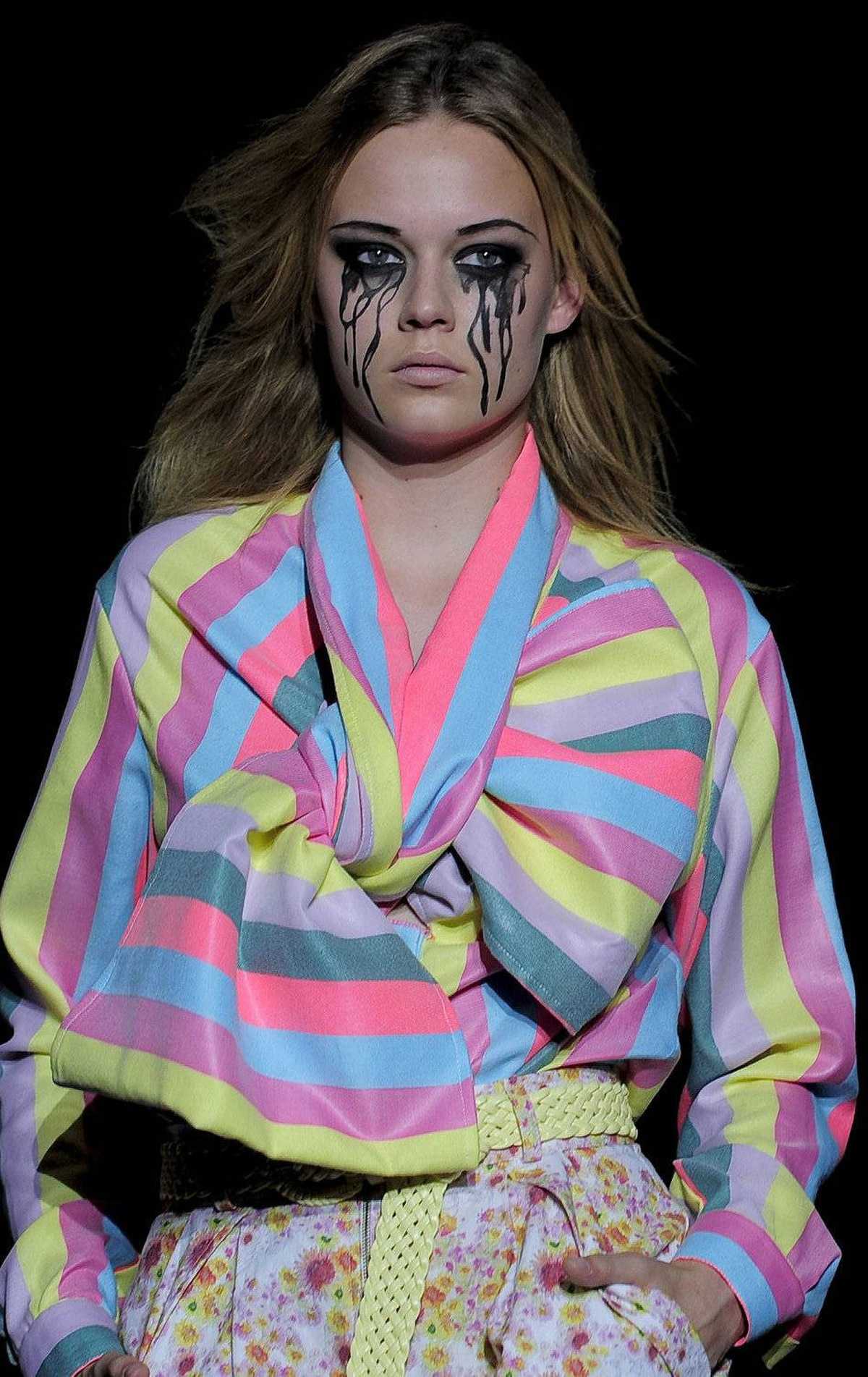 A model presents a creation of Spanish designer Manuel Bolano during the 080 Barcelona Fashion week on July 15, 2011.