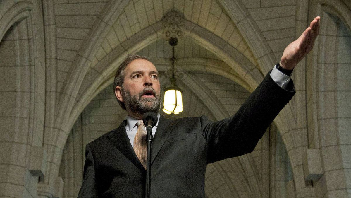 NDP Leader Tom Mulcair speaks with reporters on Parliament Hill after his party's caucus meetings on May 9, 2012.