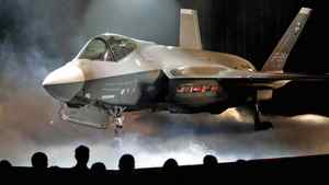 The F-35 Joint Strike Fighter is shown during an Lockheed Martin news conference in Fort Worth, Tex., on July 7, 2006.