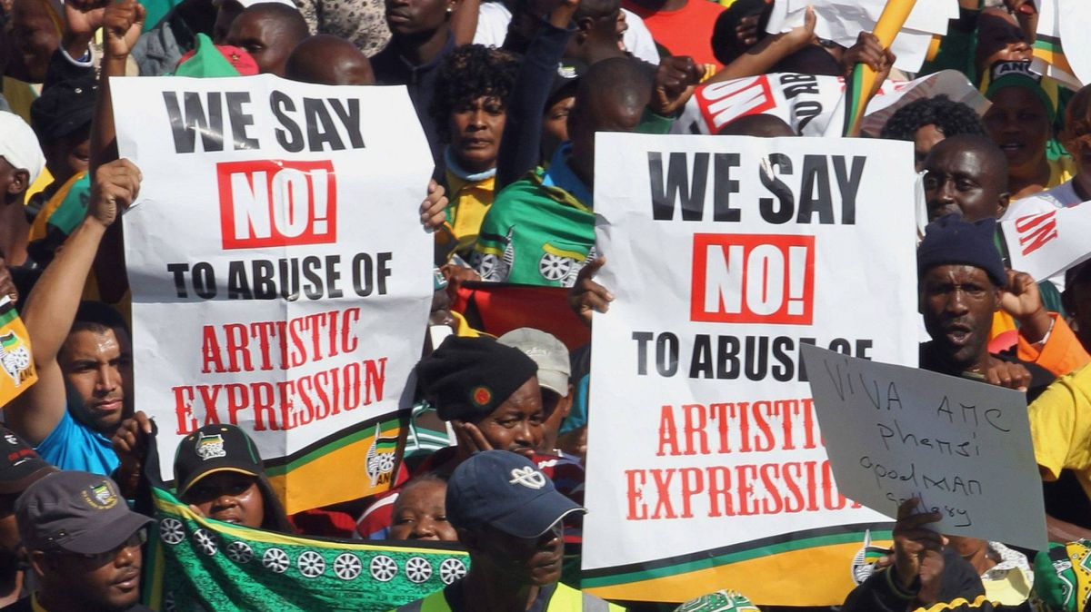 South African ruling party supporters sing during a protest in Johannesburg, South Africa on Tuesday May 29, 2012.
