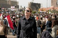 Undated image of Sunday Times journalist Marie Colvin photographed in Tahrir square in Cairo.