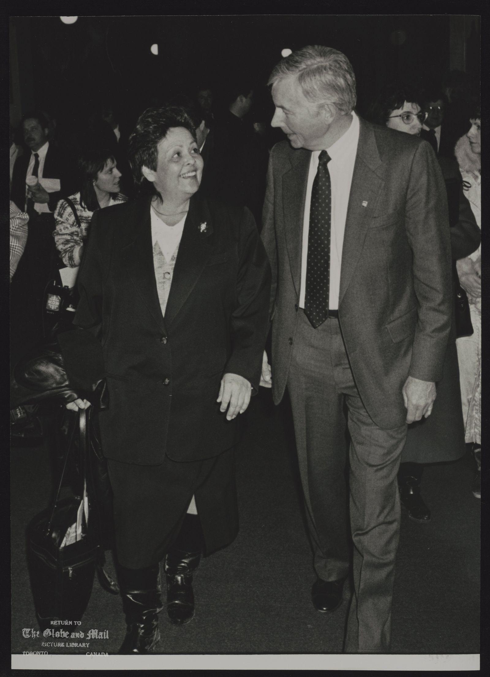 NATIVE PEOPLE CANADA CHIPPEWA CHIEF LORRAINE MCRAE OF RAMA AND WILLIAM SAUNDERSON, MINISTER OF ECONOMIC DEV. & TRADE.