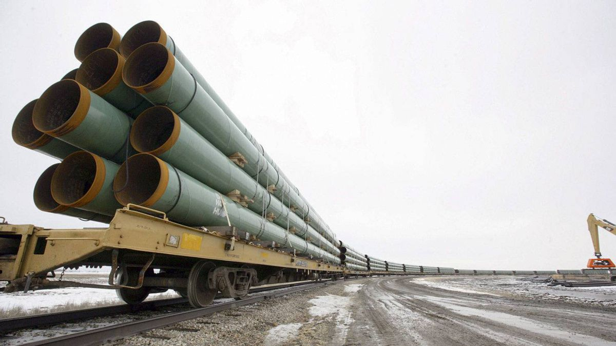 Rail cars arrive in Milton, N.D., loaded with pipe for an earlier phase of the Keystone pipeline.
