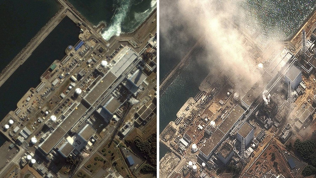 A combination of handout satellite images show the Fukushima Daiichi nuclear plant on November 21, 2004 (L) and on March 14, 2011 (R) as the No.3 nuclear reactor is burning after a blast following an earthquake and tsunami.