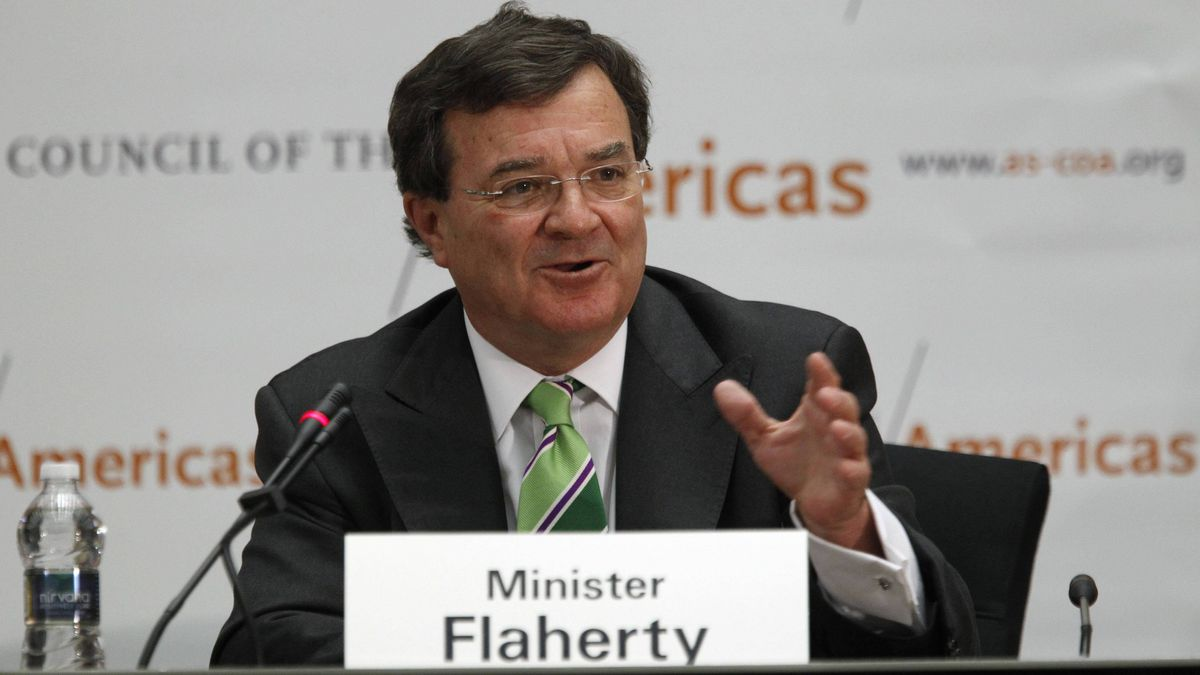 Canadian Finance Minister James Flaherty addresses the Washington Conference on the Americas at the State Department in Washington May 11, 2011.