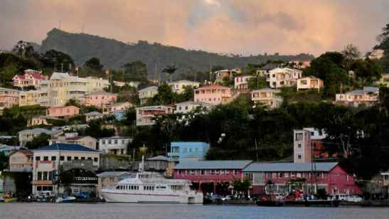 A view the hillside homes in St. George's, Grenada, as seen from the Caribbean Sea.