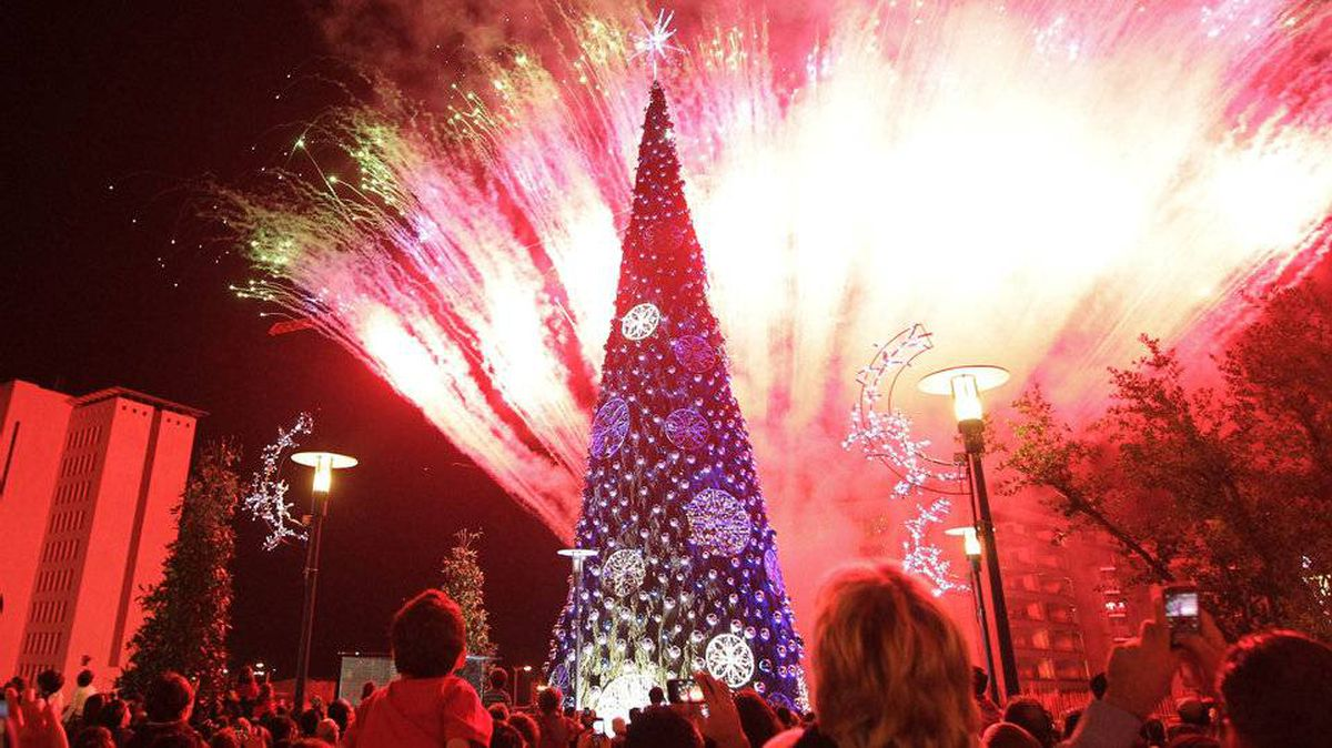 Fireworks light the sky as a Christmas tree is lit in the Lebanese capital Beirut.