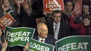 NDP Leader Jack Layton greets supporters at a campaign stop in Edmonton on March 26, 2011.