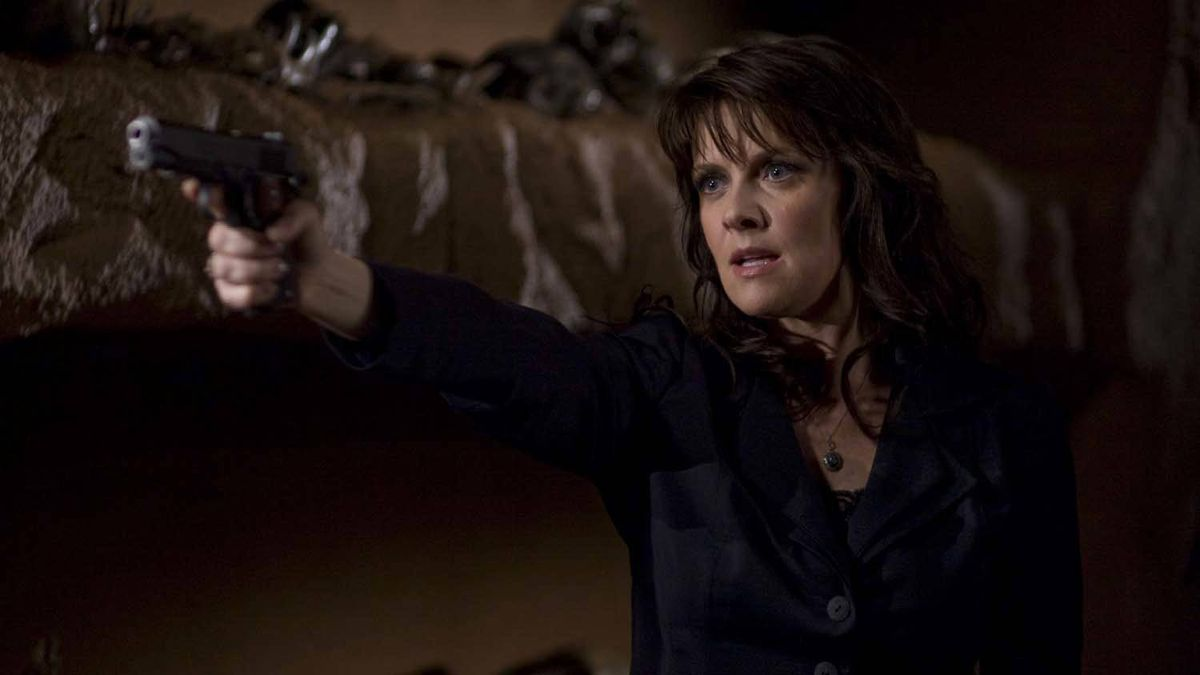 "Amanda Tapping as Dr. Helen Magnus in a scene from an episode of ""Sanctuary"""