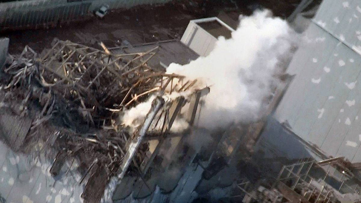 his handout image released from Tokyo Electric Power Co (TEPCO) on March 17, 2011 and received via JIJI Press on March 18, 2011 shows the damage to TEPCO's No.1 Fukushima nuclear power plant's third reactor building in the town of Okuma, Fubata district in Fukushima prefecture.